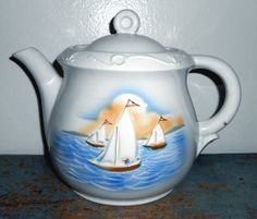 Vintage Tea Pot Sail Boat Porcelier Vitreous Large by TheBackShak, $20.00
