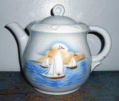 Vintage Tea Pot Sail Boat Porcelier Vitreous Large by TheBackShak, $20.00