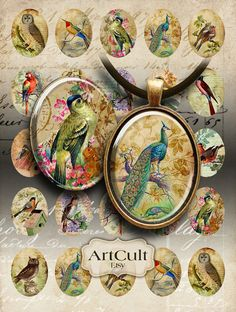Printable Download ANTIQUE BIRD OVALS 30x40 mm Images Digital Collage Sheet for pendants magnets bez Stitch App, Bottle Top Crafts, Image Digital, Mixed Media Jewelry, Decoupage Art, Arts And Crafts Projects, Printable Paper, Jewelry Crafts, Ornaments