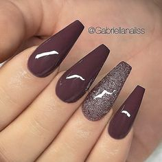 "REPOST - -  - - Burgundy-Brown and Glitter on long Coffin Nails  - -  - -  Picture and Nail Design by @gabriellanailss  Follow her for more gorgeous nail art designs!  @gabriellanailss @gabriellanailss - -  - - Products used: @semilac UV Hybrid Gel Polish""Stylish Brown"" Glitter - -  - -"