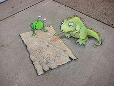 David Zinn - more streetart? Check http://restreet.altervista.org/le-divertenti-creature-di-david-zinn/
