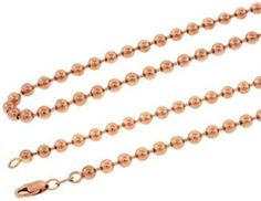 Men's Real Solid 10K Rose Gold Ball Link Chain Necklace.  #necklace #jewelry