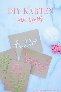 Karten basteln mit Schriftzügen aus Wolle - Pippa Pie-Maker