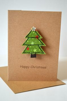 Stitch Galore Handmade Christmas card with a Christmas tree brooch attached. A little gift as well a. Religious Christmas Cards, Boxed Christmas Cards, Handmade Christmas Tree, Homemade Christmas Cards, Christmas Sewing, Homemade Cards, Christmas Tree Ornaments, Christmas Diy, Christmas Decorations
