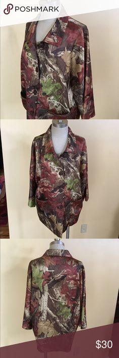 """camo kimono yes. you read that title correctly! who made this? why? how did i come to acquire it? why on earth would i sell it? let's see, idk, idk, an estate sale, i need the cash and i have 27 other kimonos. i hope you can see how cool this one is from the photos, i mean, what with it being camo and all. (very silky polyester, so probably not good for the tree-stand, you know, snags would happen, 23"""" underarm to underarm, 27"""" long) Vintage Jackets & Coats"""