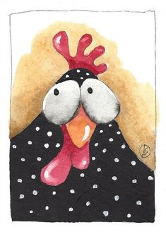 ACEO Original watercolor painting black chicken white spots Betty #IllustrationArt