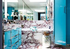 marble + colour in the bathroom
