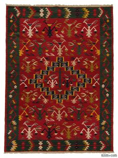 K0006213 Red, Green New Turkish Kilim   Kilim Rugs, Overdyed Vintage Rugs, Hand-made Turkish Rugs, Patchwork Carpets by Kilim.com