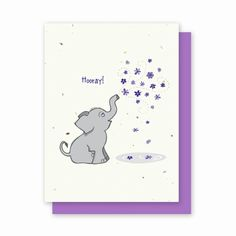 Hooray Elephant - 4 Pack  Availability: Usually Ships in 3-5 business days  This adorable card is appropriate for any celebratory occasion!  Each card is embedded with a colorful array of Wildflower seeds.  The recipient can plant their card in the ground and grow a nice bouquet of flowers. Planting instructions are printed on the back of every card along with the seed mixture.