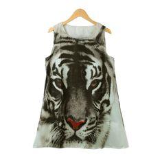 (6.63$)  Buy here - http://aisr1.worlditems.win/all/product.php?id=G2475B-L - New Europe Fashion Women Mini Dress Tiger Head Print O Neck Sleeveless Loose Casual Summer A-Line Dress Black
