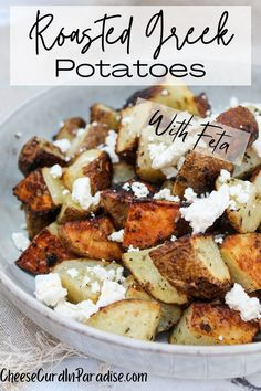 Roasted Potatoes with Lemon, Oregano and Feta are a unique and delicious side dish. Tender roasted potatoes tossed with fresh herbs, citrus, and tangy feta cheese. Best Side Dishes, Veggie Side Dishes, Vegetarian Recipes, Cooking Recipes, Healthy Recipes, Lemon Recipes, Wedges Potato, Side Dish Recipes, Dinner Recipes