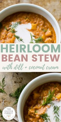 This soup is something special to make at the beginning of the week and reheat as needed. Heirloom beans are paired with fennel, tomatoes, Jasmine rice, coconut cream and some dill for garnish. The result is something that tastes similar to minestrone and is perfect for fall evenings.