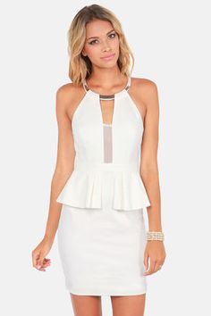 Check it out from Lulus.com! All the single ladies (and the taken ones as well!) can't wait to get their hands on the Put a Bling On It Ivory Cutout Peplum Dress! An elegant halter neck is embellished with a shiny gold plate in front, and secures with a gold button just above a large sexy cutout in back. A sheer mesh cutout is a daring display at the decolletage, while ivory knit hugs your curves, with a little flare at the flirty peplum waist. Princess seams. Hidden back zipper/hook clasp…