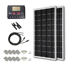 hqst 200 watt 12 volt monorystalline solar panel kit with pwm lcd display charge controller Solar Panel Cost, Solar Panels For Home, Best Solar Panels, Solar Panel System, Panel Systems, Solar Energy, Solar Power, Renewable Energy, Off Grid System