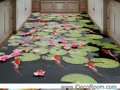 Water Lily Lotus Red Carp Fish 00045 Floor Decals 3D Wallpaper Wall Mural…