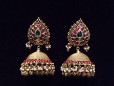 Pota ruby jhumki Jewelry Design Earrings, Designer Earrings, Gold Earrings, Jewellery Designs, India Jewelry, Temple Jewellery, Jewellery 2017, Paper Jewelry, Contemporary Jewellery