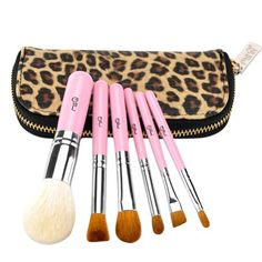 MSQ Natural Cosmetic Makeup Brush Set/ Brushes and leopard Pouch Cosmetic Brush-Pink ** Learn more by visiting the image link. (This is an affiliate link and I receive a commission for the sales) Best Makeup Brushes, Eye Brushes, It Cosmetics Brushes, Makeup Cosmetics, Best Makeup Products, Cosmetic Brush Set, Makeup Brush Set, Natural Hair Brush, Best Foundation Makeup