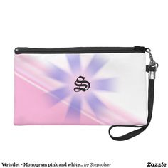 Wristlet - Monogram pink and white design