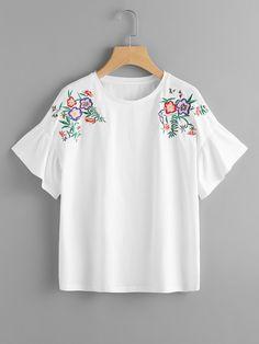 Flower Embroidered Frill Sleeve Tee -SheIn(Sheinside)