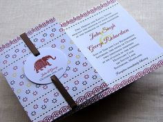 Indian Elephant Wedding Invitation - Jaipur Style with Enclosures Booklet Diy Wedding, Fall Wedding, Diy Save The Dates, Wedding Gifts For Parents, Save The Date Designs, Indian Wedding Invitations, Indian Elephant, Elephant Wedding, Parent Gifts