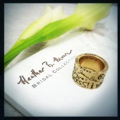 Eric Decker gave this Heather Moore pipe ring to Jessie James as a One of a Kind personalized gift that featured both of their signatures, the coordinates of their wedding chapel, and little quotes and sayings that were meaningful to them (as seen on the E! Entertainment show Eric and Jessie Game On!)