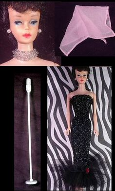 Vintage Barbie Solo In The Spotlight  Vintage Barbie Solo In The Spotlight Vintage Barbie Solo In The Spotlight #982 (1960-1964)    Strapless Black Gown  Pink Chiffon Scarf  4-strand crystal choker  Microphone  Long Black Gloves  Black Open Toe Heels    This glamorous ensemble is fairly easy to find. The most problematic area of the dress is that the glitter is frequently worn thin or completely off the bust area of the dress. Also the red rose is sometimes missing.    The microphone and…
