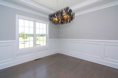 30 Amazing Picture of Dining Room Wainscoting . Dining Room Wainscoting White Wainscoting Dining Room With Contemporary Silver Light Fixture Living Room Wood Floor, Living Room Paint, Living Room Decor, Custom Home Builders, Custom Homes, Home Renovation, Home Remodeling, Bathroom Remodeling, Dining Room Wainscoting