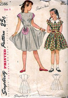 Vintage 1940s Simplicity 2386 Girls One Piece by Recycledelic1, $5.00