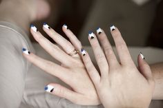 Nails: White, Blue and Black Double French Mani