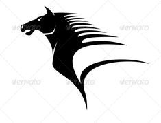 Purchase $3.00 Stylized black and white illustration of the head of a horse with flying mane giving a dynamic appearance of speed...