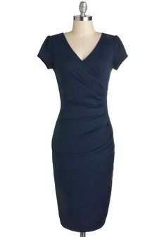I Think I Can Dress in Navy. The moment your eyes locked onto this navy-blue sheath, you let out a sigh of relief - united at last with the perfect frock! #blue #modcloth