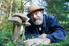 This Mycologist Holds The Patent That Could DESTROY Monsanto. USA. Washington. Shelton. Fungi Perfecti headquarters. Paul Stamets, with parasol mushrooms. Photo: ©2009 Isaac Hernandez, All Rights Reserved.
