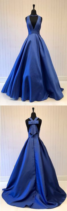 elegant v neck royal blue long prom dress, 2018 prom dress, deep v neck long prom dress with bow