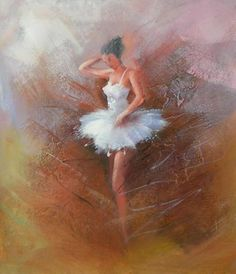 Wall Art finished in USA History: Ballerina is a hand finished canvas oil painting. This canvas art utilizes the color white in the ballerina's garment to draw