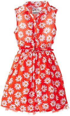Beautees Little Girls' Shirt Waist Dress, Hot Coral, 4