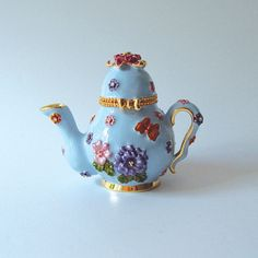 Blue Teapot Box Swarovski Crystals Jewelry, Trinket Pill Box Trinket Box
