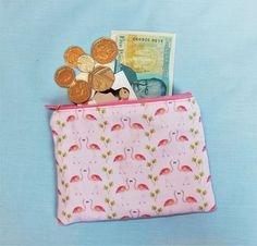 Large flamingo coin purse  flamingo wallet  pink bird purse
