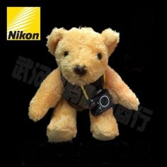 NIKON Bear Ted Plush Stuffed Animal Soft Toy Doll