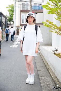 Harajuku Girl in Oversized Shirt Dress Japanese Streets 88682230a20f3