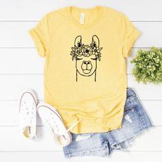 Cute Llama Shirt, Floral Llama Shirt, Funny Llama Shirt, Llama T-Shirt, Llama Shirt, Llama Tee, Llam Funny Llama, Cute Llama, Llama Shirt, Sunflower Shirt, Heather Black, Summer Shirts, Colorful Shirts, Ohio, Silhouette