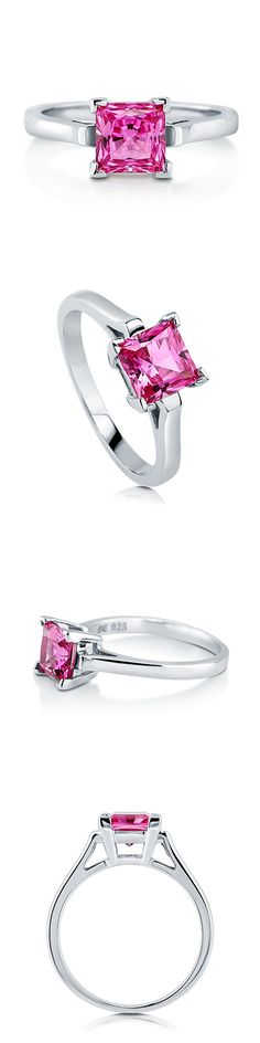 925 Silver Princess CZ Solitaire Engagement Wedding Ring