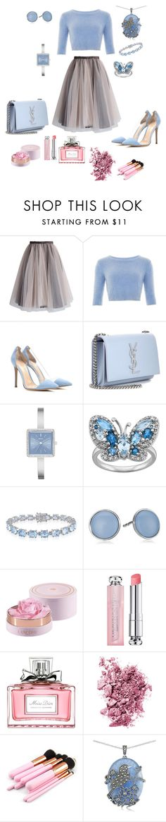 """Baby Blue"" by soniauk ❤ liked on Polyvore featuring Chicwish, Collectif, Gianvito Rossi, Yves Saint Laurent, DKNY, Belk & Co., Skagen, Christian Dior, Tom Ford and Lord & Taylor"
