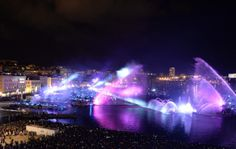 """Pyrotechnic show company """"Group F"""" performs with fireworks in the Vieux Port (Old Port) of Marseille, southern France, on December 31, 2013, as part of New Year celebrations on the last day of the Marseille-Provence 2013 European Capital of Culture."""