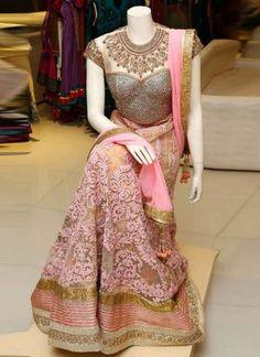 Pink Heavy Thread Resham Work Lace Border Net Georgette Designer Lehenga Choli http://www.angelnx.com/
