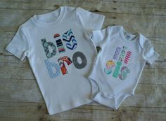 Custom Big Brother Lil Sister Matching Personalized Applique Shirts- SET OF TWO by TheCypressNeedle on Etsy