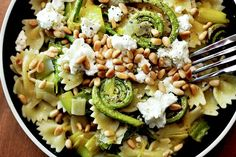 Fiddlehead Ferns and Leeks with Goat Cheese and Pine Nuts