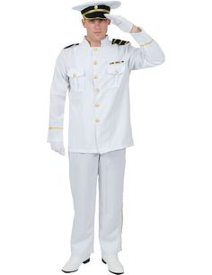 Top Gun Captain 80s Costume White Pilot Mens Fancy Dress Tom Cruise Outfit M L