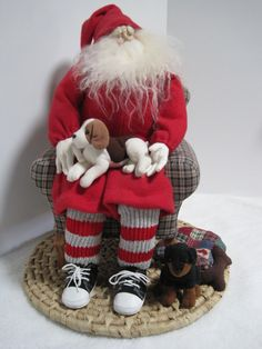 Father Christmas With Puppies by PutsyPlace on Etsy