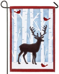 Burlap Winter Deer And Cardinals Themed House Flag Depicting A Snowy Birch  Forest Alive With Colorful Wildlife. The Background Consists Of Rugged, ...