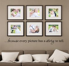 Because Every Picture Has A Story To Tell Quote Vinyl Wall Decal Sticker Available in the color of your choice!! We now have 21 MATTE FINISH COLORS to choose from... See our COLOR CHART in the images